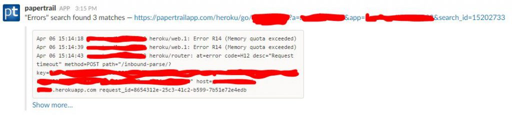 slack memory alert